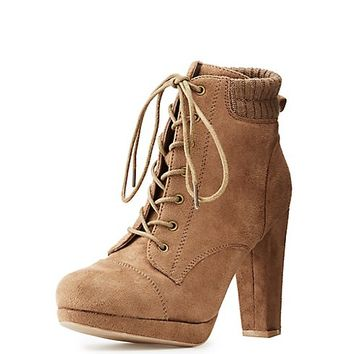 Wide-Width Faux Suede Lace-Up Booties | Charlotte Russe