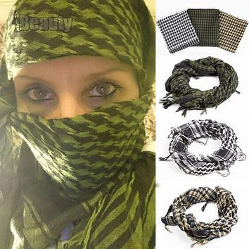 Military Windproof Spring Scarf Men Muslim Hijab Shemagh Tactical Shawl Arabic Keffiyeh Scarves 100% Cotton Fashion Scarf  women