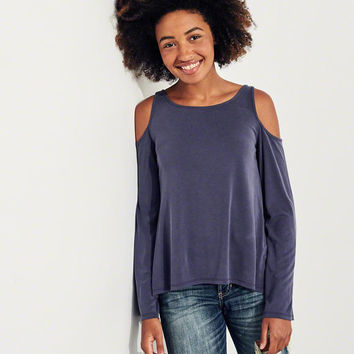 Girls Bell-Sleeve Cold Shoulder Top | Girls Tops | HollisterCo.com