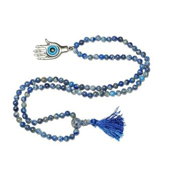 Mogul Evil Eye Buddhist Yoga Beads Lapiz Lazuli Japa mala 108+1 Necklace - Walmart.com