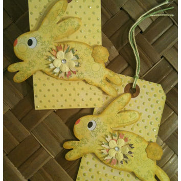 Easter Bunny Basket Gift Tag Handmade Shabby Chic Victorian Spring Green Golden Yellow Pink Flower Bunny Hop Set of 2