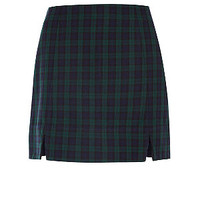 Navy and Green Check Side Split Mini Skirt