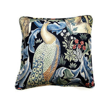 William Morris Forest, Arts and Crafts, blue, green, beige, peacock linen union cushion, throw pillow, home decor 18 x 18 inches.