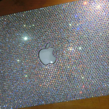 Promotion Laptop Case Rhinestone macbook pro case Handmade Crystal Bling Case holographic Blue Silver trends glitter gift AURORA BOREALIS