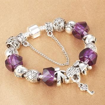 HOMOD Luxury Women Bracelet Silver Plated Charms Beads fit Pandora Bracelet for girls