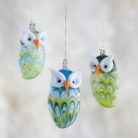 Clear Glass Owl Ornament.