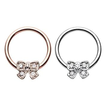 Rose Gold & Silver Ribbon Bow Tie Steel Captive Bead Ring