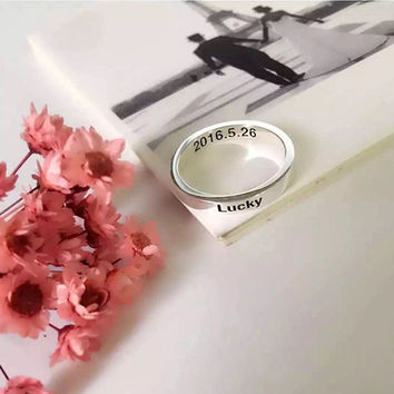 Custom Silver Ring,Silver Name Ring,Lucky Ring,Engraved Ring