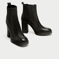 ELASTIC HIGH HEEL LEATHER ANKLE BOOTS DETAILS
