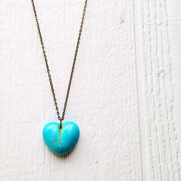 Turquoise Heart Necklace - Brass Jewelry - Long Jewellery