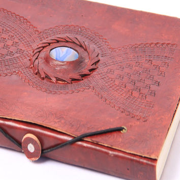 Journal With Stone - Journal Leather - Journal Diary - Leather Journal with Stone - Embossed Journal - Journal for Men and Women