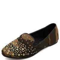 Multi-Stud Canvas Camo Loafer: Charlotte Russe
