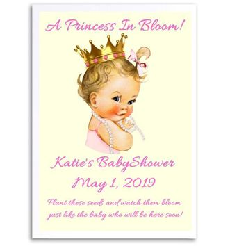 8 Princess Baby Shower Seed Favors Light Skin