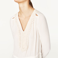 FLOWING BLOUSE WITH BIB FRONT - NEW IN-WOMAN | ZARA United States