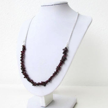 Garnet necklace, semi precious gemstone necklace, gemstone chip necklace, adjustable necklace, Mother's day gift for her, Handmade in the UK