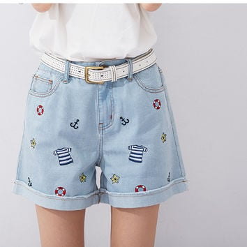 Sailor Embroidered Shorts