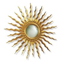 "Sunburst Antique Gold Leaf Sol Convex Mirror 28"" Diameter"