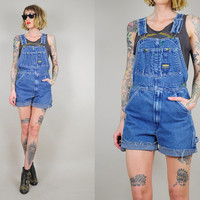 CUT OFF 80's OVERALLS Shortalls faded Denim Dungarees Shorts Slouchy frayed Worn-in Grunge Small