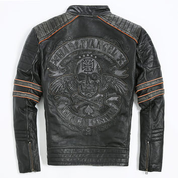 FREE SHIPPING 2017 Men Retro Vintage Leather Biker Jacket Embroidery Skull Pattern Black Slim Fit Men Winter Motorcycle Coat