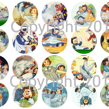 """Printed Vintage Victorian Raggedy Ann Fairy Tale Images 1 3/4"""" Circles Collage Sheet"""