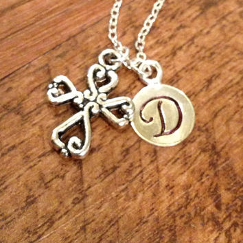 Cross initial necklace
