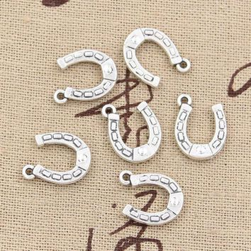 PEAPIJ6 30pcs Charms lucky horseshoe horse 15*12mm Antique pendant fit,Vintage Tibetan Silver,DIY for bracelet necklace