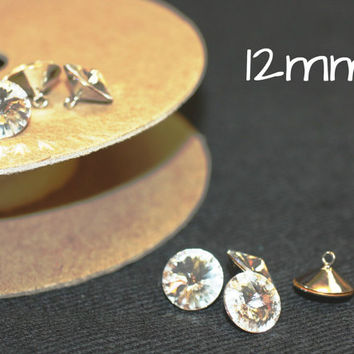 Cystal/Silver Rhinestone/Diamante/Crystal 12mm Single Stone Button - Hair, Accessories, Cakes, Bouquets, Jewellery, Costume!