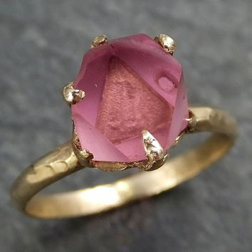 Raw Spinel Natural Facets Gold statement Ring One Of a Kind Pink Gemstone Ring stone Ring byAngeline 0377