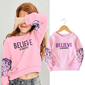 Spring autumn 2018 glitter letter sequins unicorn printing baby girls sweat shirt tee kid brand clothes children tops 90-130cm