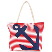 Anchor - Stitched Stripe Canvas Bag - 20-1/2-in (Red White Stripe Blue Anchor)