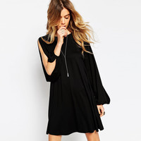 Lace Up Back Slit Sleeves Loose Swing Dress