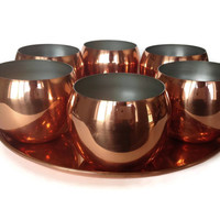 Coppercraft Guild Bar Set, Roly Polies with Tray, Copper Whiskey Glasses, S/6