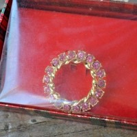 Designer GERRY'S Pink Rhinestone Wreath Brooch Pin FALL Fashion NIB Jewelry Xmas