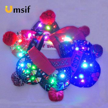 86c31a5a9c0 2018 Women s Novelty LED Light-up Knitted Beanies Hat Boys Ugly