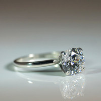 1.67 Carat Cubic Zirconia Sterling Silver Ring Hearts & Arrows Cut Diamond Simulant Engagement Solitaire Sizes 2-13