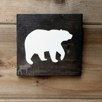 Wood Bear Wall Art - 6x6 pine,rustic nursery,rustic decor,stained wood, woodland, forest,kids room,shabby chic, babyshower gift,cabin decor