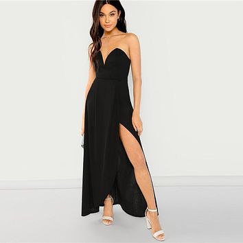 Black Bandeau Off Shoulder Split Solid Dress Party Sexy Plain Slim Maxi Dresses Women Modern Lady Elegant Dress