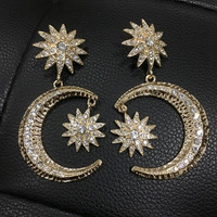 Gold Color Moon & Star Earrings