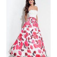 Preorder - Rachel Allan 7111 White & Fuchsia Pink Strapless Long Gown 2016 Prom Dresses