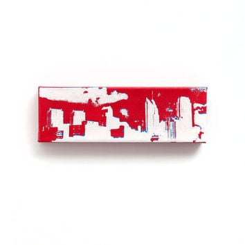 Philadelphia Skyline Canvas: Phillies Throwback Edition (Red w/ Blue & White) Screenprint/Painting, Phillies Wall Art, Urban Home Decor