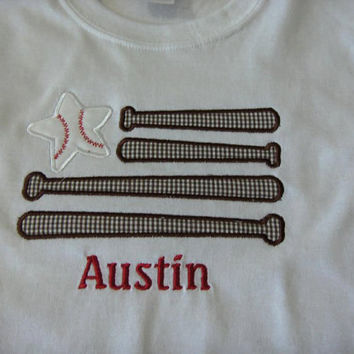 Baseball Bats Custom made appliqued, monogrammed, embroidered, tee shirts or one piece w/snaps, boys, girls, toddlers