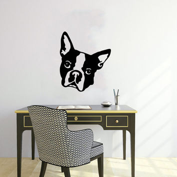 Vinyl Decal Boston Terrier Cute Dog Animal Pet Shop Housewares Home Wall Art Decor Stylish Sticker Unique Design for Any Room V585