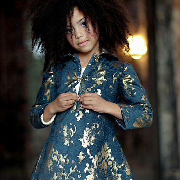 Girls Navy & Gold JORDAN Brocade Tailored Coat - Lilla Grey F/W '13 Pompeii Dreams Collection