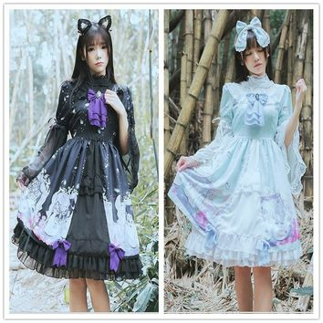 Gothic Lolita Printed Lace Collar Chiffon Sleeve Dress