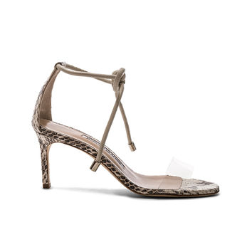 Manolo Blahnik Estro 70 Sandals in White & Black Natural Watersnake | FWRD
