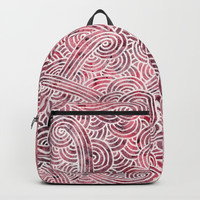 Burgundy red and white swirls doodles Backpacks by Savousepate