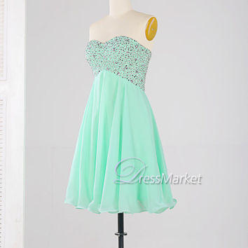 Short sweetheart strapless homecoming dress,Chiffon lace-up homecoming dress,Knee length sequins beading homecoming dress,Short party dress