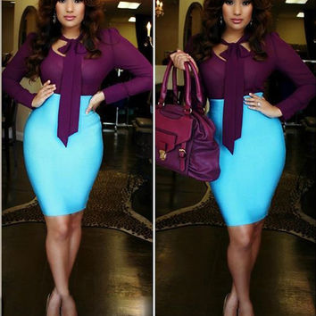 Color Block Long Sleeve Bow Tie Midi Dress