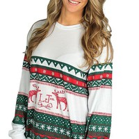 Christmas Sweater Tee in Green & Red by Lauren James