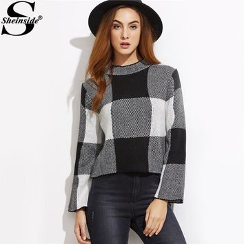 Sheinside Plaid OL Elegant Sweater Mock Neck Knitted Crop Pullovers Fall 2017 Fashion Women Black And White Checkered Sweater